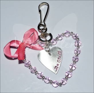 Personalised Glass Beaded Heart Bag Charm