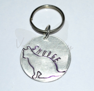 Personalised Etched Silhouette Cat Disc Keyring