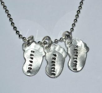 Personalised Embossed Baby Feet Pendant *Stainless Steel Pendant*