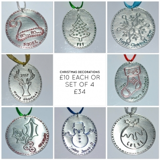 Personalised Stitched Effect Christmas Designs Decoration