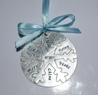 Personalised Large Snowflake Disc Christmas Decoration