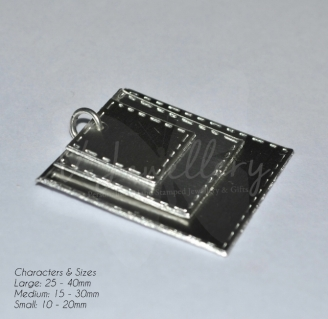 """Personalised Stitched Effect Layered """"Squares"""" Pendant 20"""""""