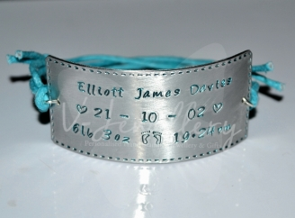 Personalised Stitched Effect Cuff Bracelet *3 Sizes Available*