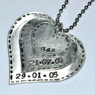 """Personalised Stitched Effect Layered """"Hearts"""" Pendant 20"""""""