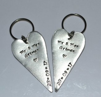 Personalised Hand Stamped Tall Heart Keyring