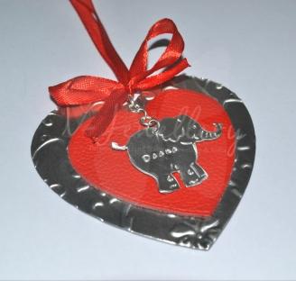 Personalised Embossed Elephant Leather Layered Heart Hanging Keepsake