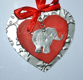 Personalised Embossed Elephant Leather Layered Heart Hanging Keepsake