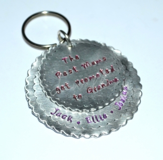 Personalised Large Scalloped Layered Hand Stamped Keyring
