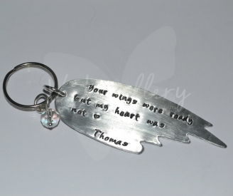 Personalised Large Angel Wing Hand Stamped Keyring