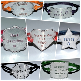 Personalised Stitched Effect Custom Shape Bracelet *Various Styles Available*