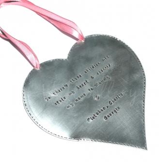 Personalised Stitched Effect XXL Hanging Heart Keepsake