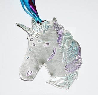 Personalised Large Unicorn Head Hanging Keepsake