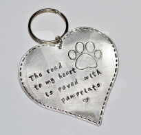 Personalised Hand Stamped Large Paw Keyring