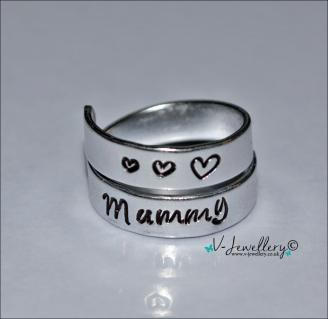 Mum Hand Stamped Wrap Ring