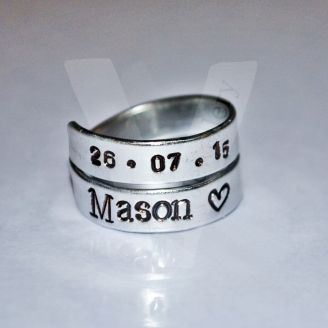 Personalised Hand Stamped 2 Wrap Ring