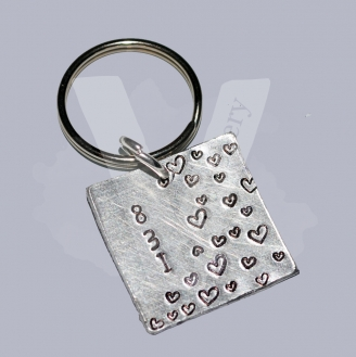 "831 ""8 Letters 3 Words 1 Meaning"" Hand Stamped Square Keyring"