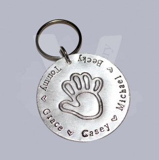 Personalised Etched Baby Hand Large Keyring