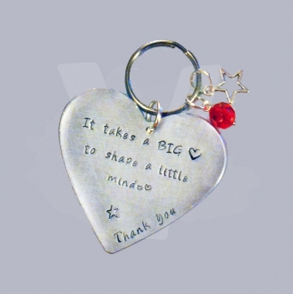 """""""It takes a BIG heart to shape a little mind"""" Large Heart Keyring"""