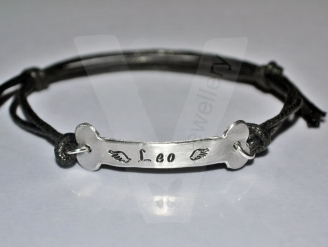 Personalised Hand Stamped Dog Bone Bracelet