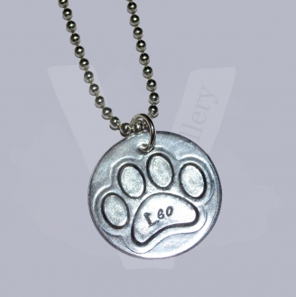 "Personalised Etched Paw Disc Pendant 20"" *Stainless Steel Chain*"