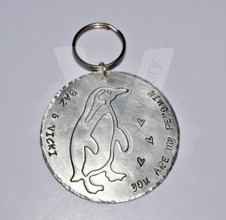 Personalised XL Penguin Disc Keyring