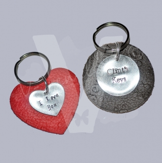 Personalised Genuine Leather Embossed Keyring