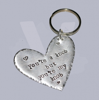 "Profanity ""You're a knob"" Hand Stamped Heart Keyring"
