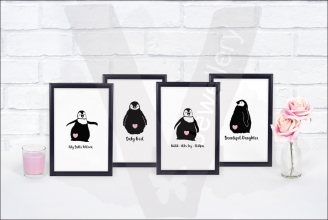 Personalised Penguin Silhouette Nursery A4 Print Set