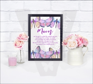 """Watercolor Butterflies """"Mum"""" A4 Print"""