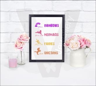 Magical... Rainbows/Mermaids/Fairies/Unicorns A4 Silhouette Print