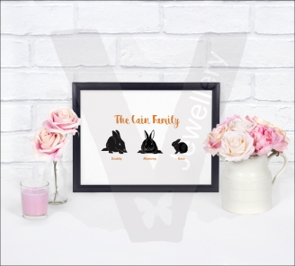 Personalised A4 Silhouette Rabbit Family Print