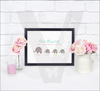 Personalised A4 Silhouette Elephant Family Print