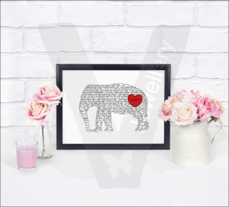 Personalised A4 Silhouette Text Art Print