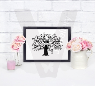 Personalised Family Tree A4 Silhouette Print