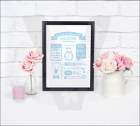 Personalised Baby Birth Announcement Keepsake A4 Print