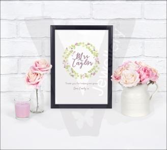Personalised A4 Teachers Flowers Wreath Print