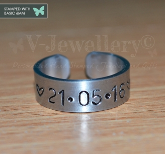 Personalised Hand Stamped Band Ring *Higher Quality*