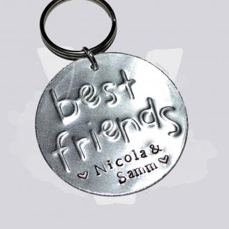 """Personalised Large Embossed """"Best Friends"""" Keyring"""
