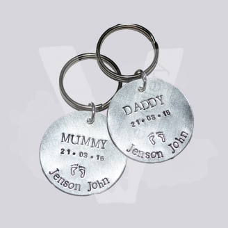 Personalised Hand Stamped Disc Keyring
