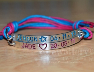 Personalised Double Multi-Plate Hand Stamped Bracelet
