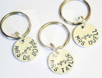 Personalised Disc Hand Stamped Keyring