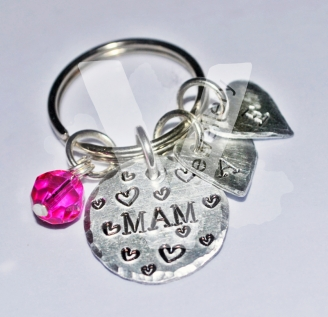 "Personalised Initial Hand Stamped ""Mum"" Keyring"