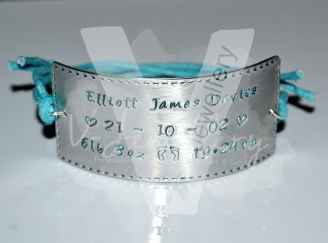Personalised Stitched Effect Cuff Bracelet