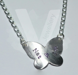 "Personalised Butterfly Pendant 18"" - 20"""