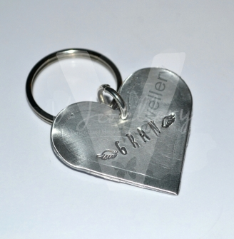 Personalised Hand Stamped Heart Keyring *Various Styles Available*
