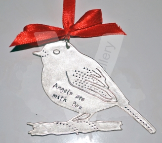Personalised Etched Robin Hanging Keepsake