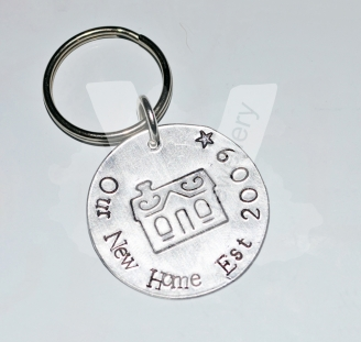 """Personalised Etched """"New Home"""" Disc Keyring"""