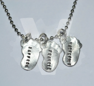Personalised Embossed Baby Feet Pendant *Stainless Steel Pendant*