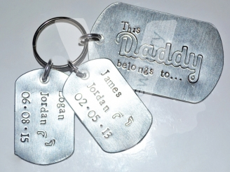 "Personalised Etched ""This Daddy belongs to..."" Extra Large Dog Tags Keyring"