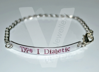 Diabetic Hand Stamped Chain Bracelet